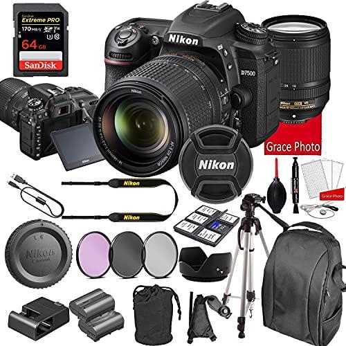 Nikon D7500 DSLR Camera Kit with 18-140mm VR Lens | Built-in Wi-Fi | 20.9 MP CMOS Sensor | SnapBridge Bluetooth Connectivity | Extreme Speed 64GB Mempry Card (27pc Bundle)