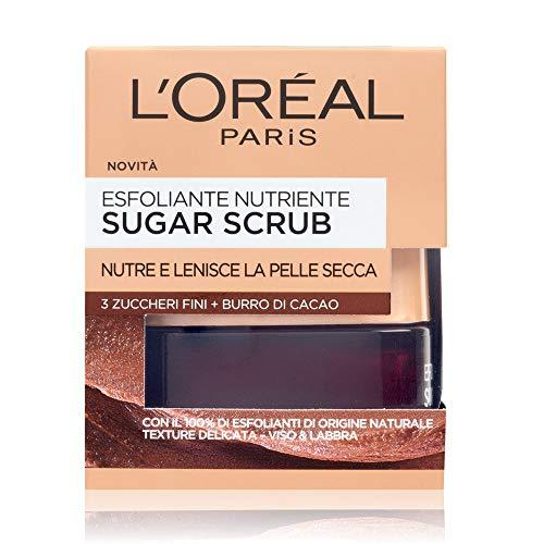 L'Oréal Paris Sugar Scrub Esfoliante Nutriente Viso & Labbra con Cristalli Fini di Zucchero + Burro di Cacao, 50 ml