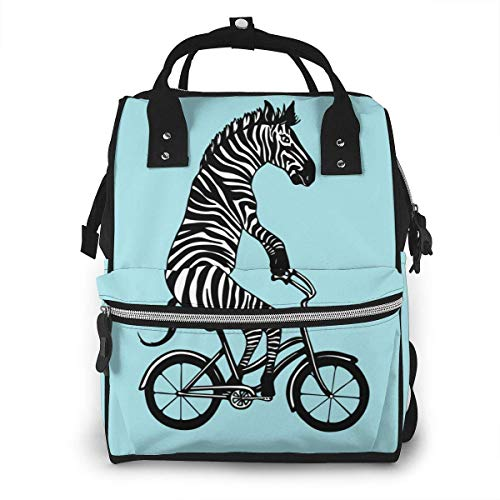 Zebra op fiets grote capaciteit multifunctionele mama rugzak grote capaciteit landscap licht baby luier zakken Eén maat Zwart