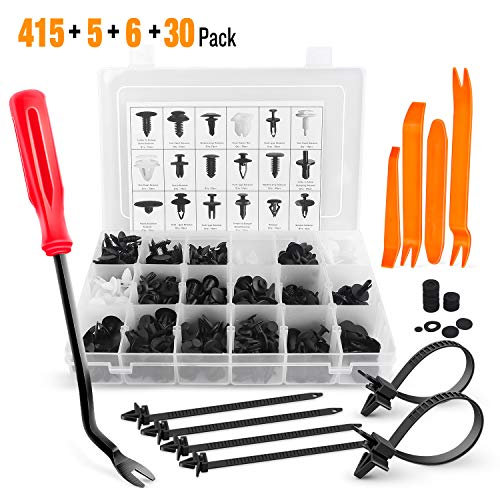 GOOACC 415 Pcs Car Retainer Clips & Fastener Remover - 18 Most Popular Sizes Auto Push Pin Rivets Set -Door Trim Panel Clips for GM Ford Toyota Honda Chrysler