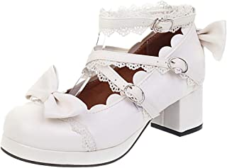 ELEEMEE Women Sweet Bow Lolita Shoes with Lace Mid Block Heels