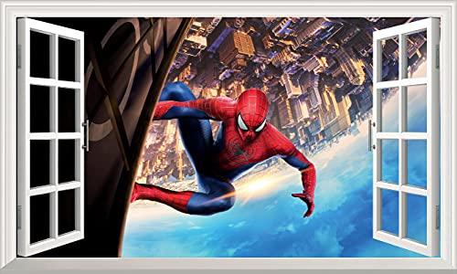 Marvel Avengers pegatinas de pared 3D ventana Spiderman pegatinas de pared superhéroe pegatinas de pared dormitorio niños y niñas (grande) 100x60cm