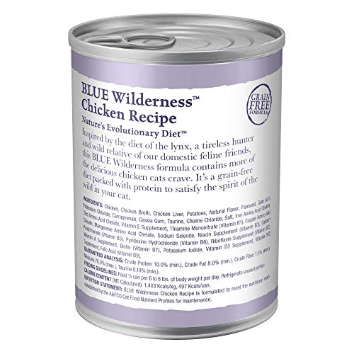 Blue Buffalo Wilderness High Protein Grain Free Natural Adult Pate Wet Cat Food, Chicken 12.5-oz (pack of 12)