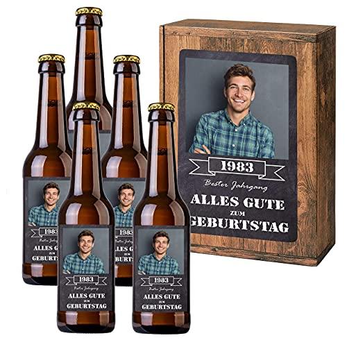 Personalisiertes Bier mit Wunschtext und Foto | 5 x 0,33 l Dinkelbier als Geschenkset | Persönliche Geschenkbox zum Geburtstag o. Vatertag (Geschenkbox mit 5 Fl, Schieferoptik)