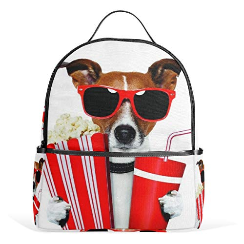 LORONA Dog Holding Soda and Popcorn School Backpack Book Bag for Boys Girls and Kids