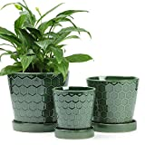 """BUYMAX Succulent Planter –4""""+5""""+6"""" inch Ceramic Flower Pot with Drainage Holes and Ceramic Tray - Gardening Home Desktop Office Windowsill Decoration Gift Set 3 - Plants NOT Included (Patina)"""