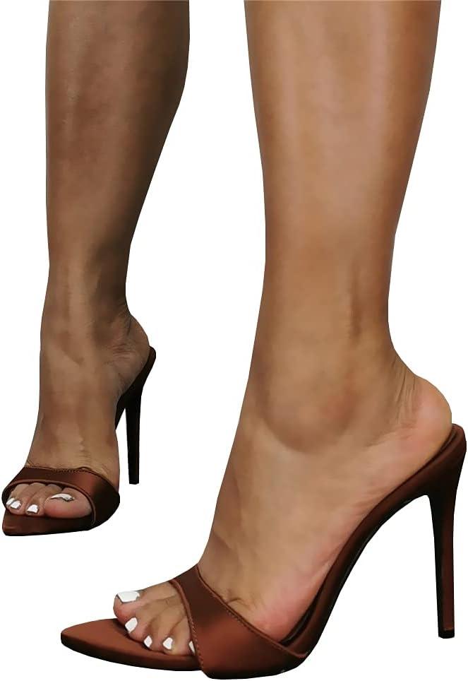 LEBE High Tulsa Mall Heels Unisex famous Men's Peep-Toe Open Stilett Women's Slide