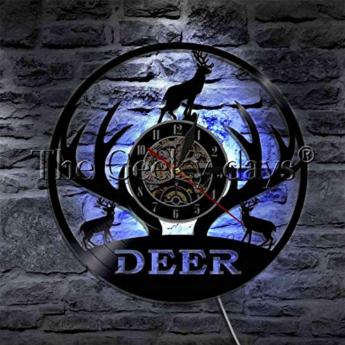 KEC Forest Animals Deer Family Silhouette Luz de Noche LED Reloj de Pared con Registro de Vinilo Reloj de Pared con asta de Ciervo Grande Lámpara Colgante LED Lámparas de Pared de Interior LED