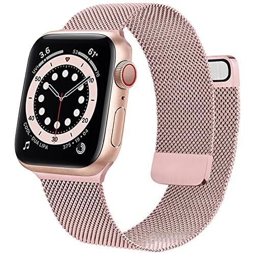 Wanme Correa Compatible con Apple Watch Correa 38mm 40mm 42mm 44mm, Pulsera de Repuesto de Metal de Acero Inoxidable para iWatch Series SE 6 5 4 3 2 1 (38mm/40mm Rosa)