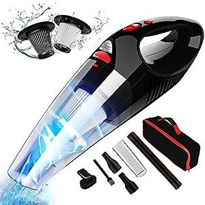 Aspirador de Mano RIKIN 8500PA 120W Aspiradora de Coche Sin Cable Carga Rápida Potente Filtro de Acero Inoxidable Accesorio Completo y Bolsa de Transporte para Hogar y Coche