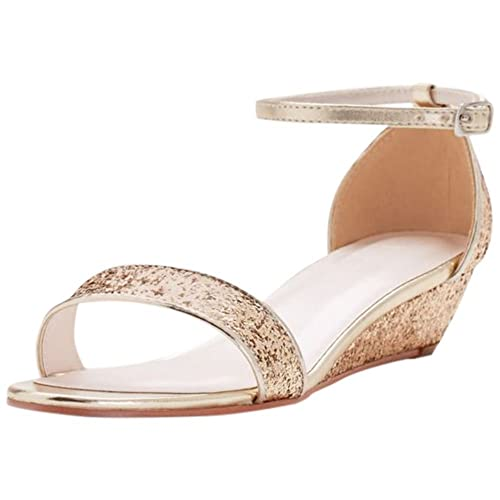 e50a9258ee78a5 David s Bridal Glittery Low-Wedge Sandals Style Maye