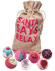 Bomb Cosmetics Santa Says Relax Handmade Hessian Sack Bath Blaster Gift Pack, Contains 7-Piece, 160g Each (Contents May Vary)