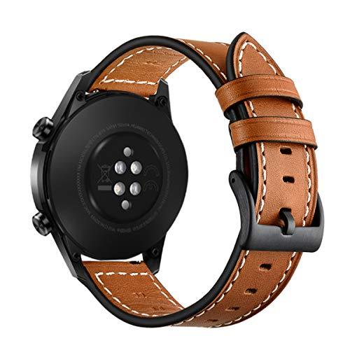 Aimtel Armband Kompatibel mit Huawei Watch GT 2e Armband/Huawei Watch GT 2 46mm / GT Classic/Sport/Active, 22mm Lederarmband Ersatzarmband für Huawei GT 2 46mm & Huawei GT 2e(Braun)