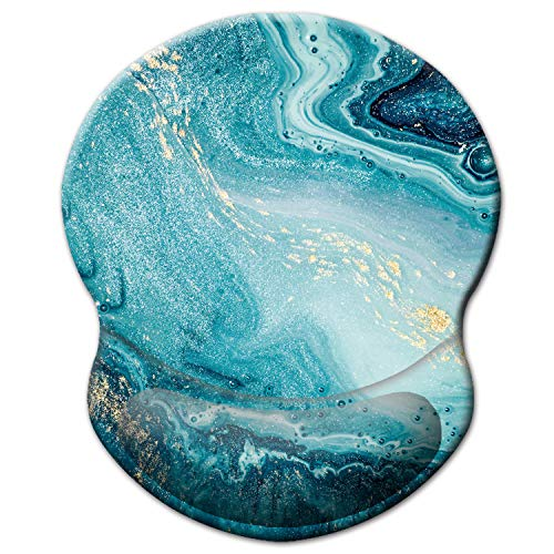 ITNRSIIET Mouse Pad, Ergonomic Mouse Pad with Gel Wrist Rest Support, Gaming Mouse Pad with Lycra Cloth, Non-Slip PU Base for Computer, Laptop, Home, Office & Travel, Blue Marble Gold