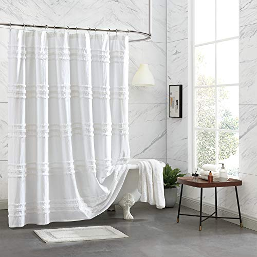 DKNY Chenille Stripe 100% Cotton Fabric Shower Curtain for Bathroom, 72 x 72 inches, White