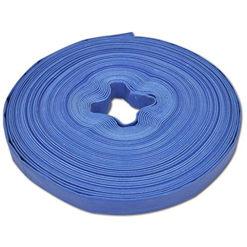 vidaXL Manguera Plana de Agua 50 m 25 mm Poliester PVC Azul Goma de Incendios