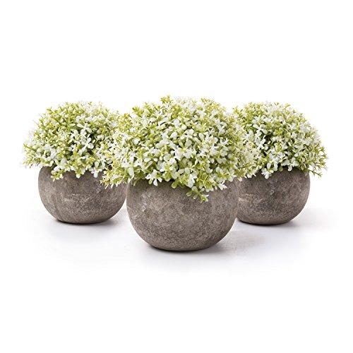 T4U Künstliche Blumen Bonsai Kunstpflanze mit grauen Topf, für Hochzeit/Büro/Zuhause Dekoration - Weiße Blüten, 3er Set