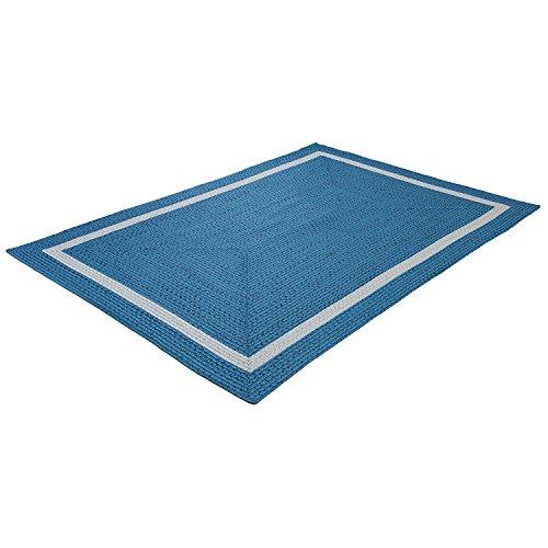 Teppich / moderner Teppich / Wohnzimmerteppich Outdoorteppich - für Balkon oder Terasse - Terrasse für In und Outdor geeignet - der Hingucker zu Ihren Gartenmöbel - blau mit beige - 160 x 230 cm