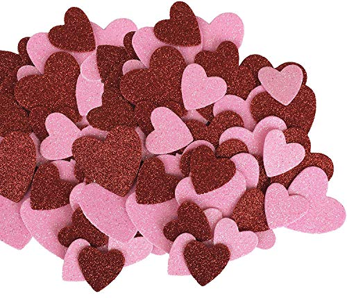 Valentines's Day Red & Pink Glitter Hearts