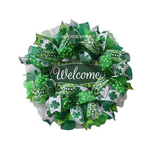 Front Door Wreath,St Patrick's Day Leprechaun Wreath,Spring Valentines St Patricks Day Wreath,Green Farmhouse Decor for The Home,Wreaths Greenery for Wedding Home Office Kitchen Wall Art Décor (B)