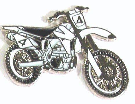 Broche en métal émaillé Motif Cross Moto Enduro essais Trail Vert Voies pour Moto vélo (Blanc)