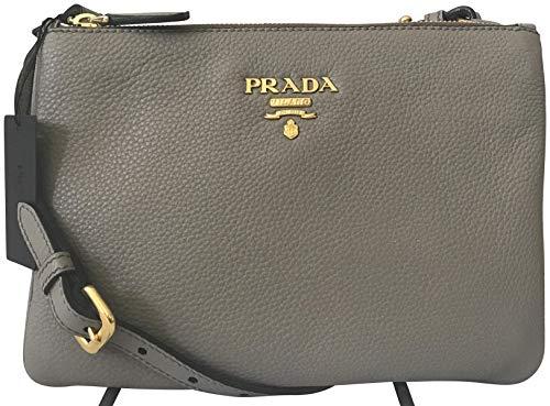Prada Dove Gray Vitello Phenix Designer Crossbody Bag for Women 1BH046