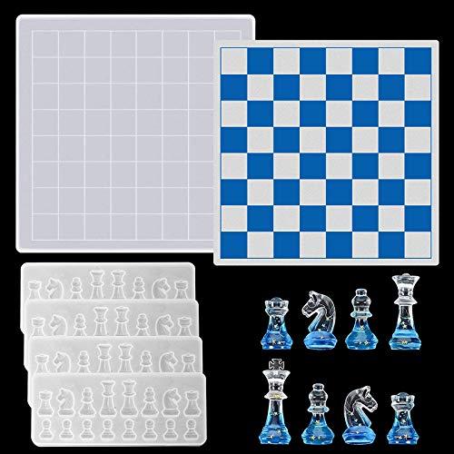CDIYTOOL 5 moldes de resina de silicona, molde internacional de ajedrez de silicona, molde de resina epoxi, moldes de ajedrez 3D, para manualidades y decoración del hogar