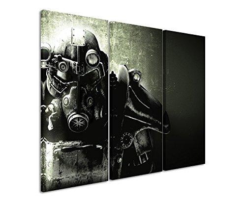 Leinwandbild 3 teilig Fallout_5_Game_3x90x40cm (Gesamt 120x90cm) _Ausführung schöner Kunstdruck auf echter Leinwand als Wandbild auf Keilrahmen