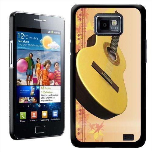 Fancy A Snuggle harde case voor Samsung Galaxy S2 i9100 om op te steken, motief akoestische gitaar met herfstbladeren/noten