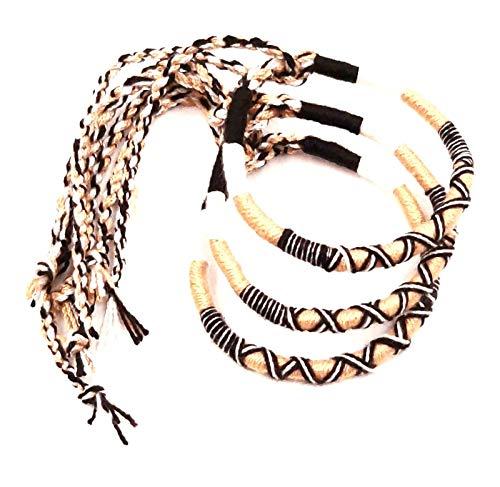 Lote de 3 pulseras brasileñas de la amistad de algodón trenzado, macramé, amuleto de la suerte para hombre, mujer, niña, marrón, blanco y negro