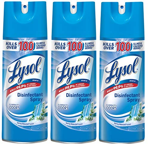 Lysol Disinfectant Spray, Spring Waterfall, 12.5 oz (Pack of 3)