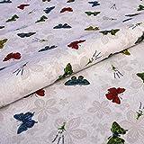 Hans-Textil-Shop Stoff Meterware Bunte Schmetterlinge