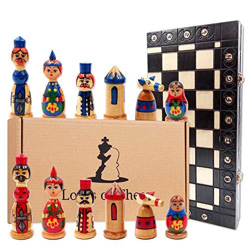 Amazinggirl Ajedrez de Madera Tablero con muñecas Rusas matrioskas 40 cm - Negro Juego de Ajedrez para Niños y Adulto