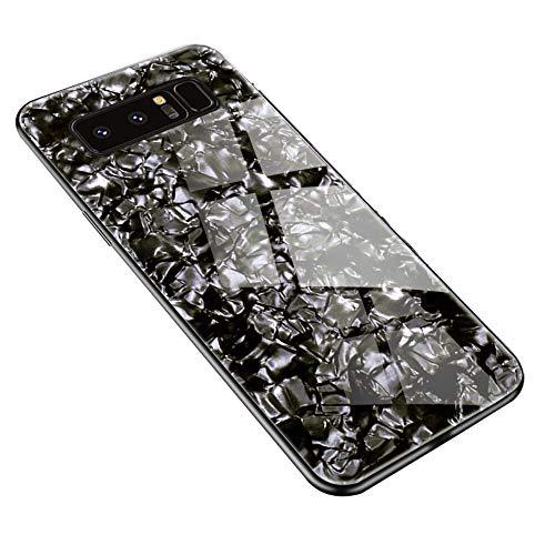Caler 3D Brillante Coque Compatible pour Samsung Galaxy S10E Silicone TPU Bumper avec 9H Arrière en Verre Trempé Antichoc Ultra Mince Housse Dos Dur Pare-Chocs Bling Coquillage Protection Etui(Noir)