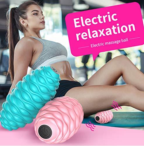 turkeybaby Elektrischer Massageball, Elektrische Muskelfaszie Entspannende Fitness Yoga Müdigkeit Entlasten Massageball Roller Blau