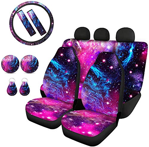 Goyentu Purple Galaxy Print Car Front Rear Seat Covers/Steering Wheel Cover/Seat Belt Pads/Absorbent Cup Holder Coasters/Keychains Universal 11 Full Set Auto Interior Accessories for Women Men