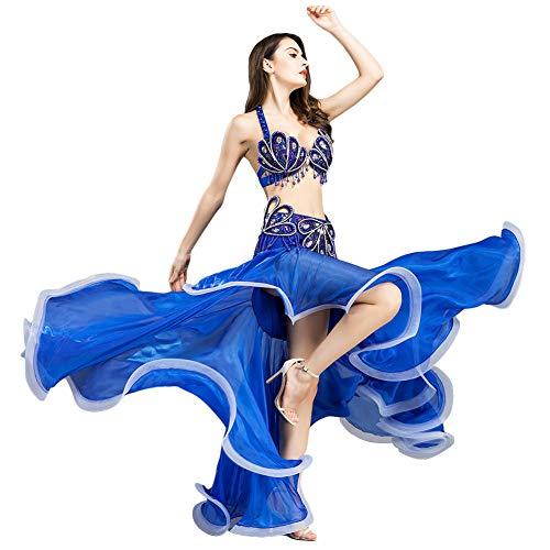 ROYAL SMEELA Conjuntos de Trajes de Falda de Sujetador de Danza del Vientre Lujosas Lentejuelas diseño del Taladro Actuación Sujetador Y Faldas Traje para Mujeres Damas