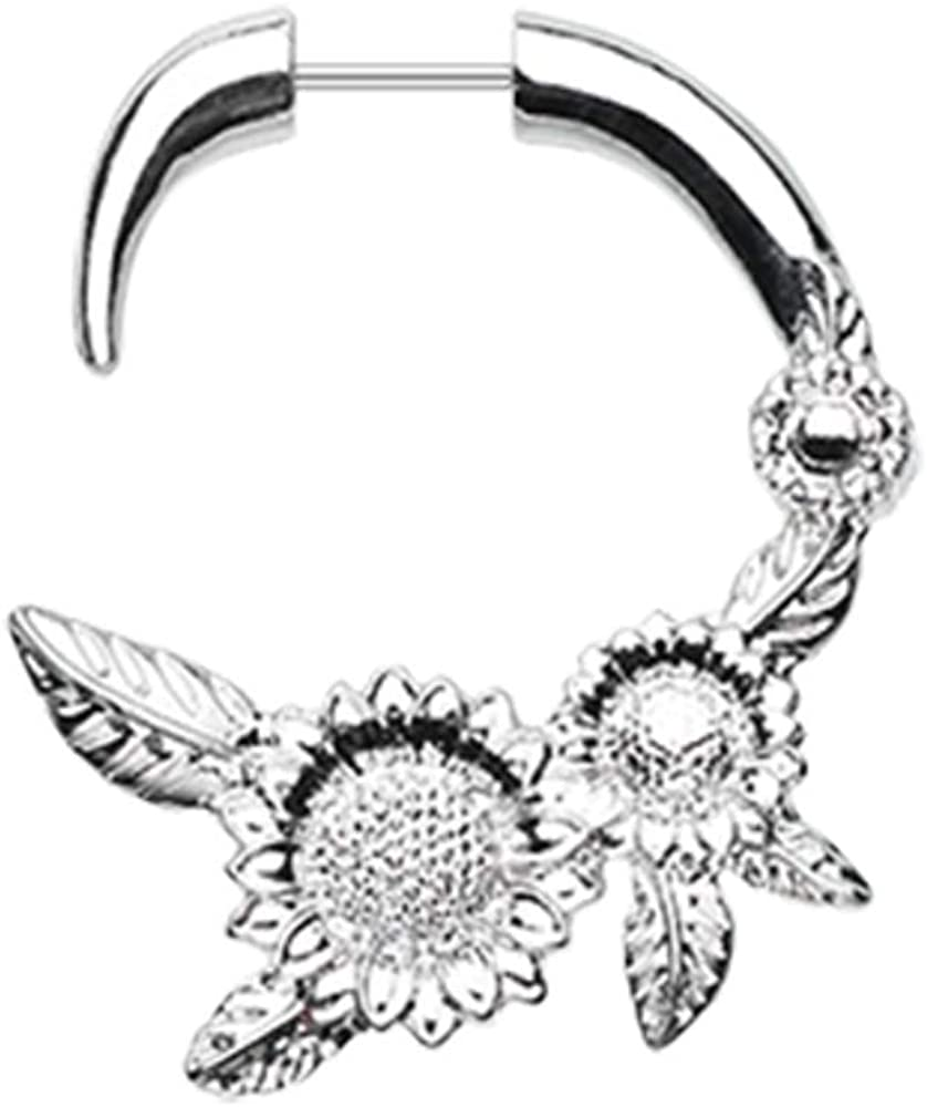 Covet Jewelry Classic Sunflower Fake Hanging Taper Earring