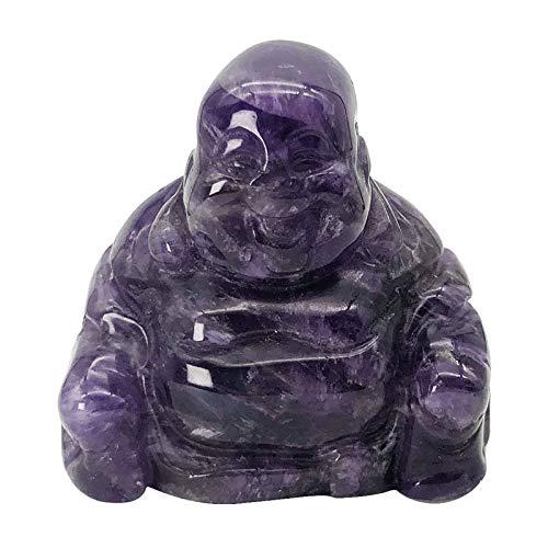 Fekuar Amethyst Happy Buddha Statue, Hand Carved Maitreya Laughing Buddha Figurine Sculpture Pocket Healing Crystal 1.5'(40mm)