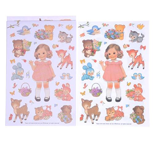 2018 New Lovely Aufkleber Papier Mädchen Kombination Papier Puppe Mate Kinder Notebook Briefpapier Dekorative Aufkleber 6 PCS/Set