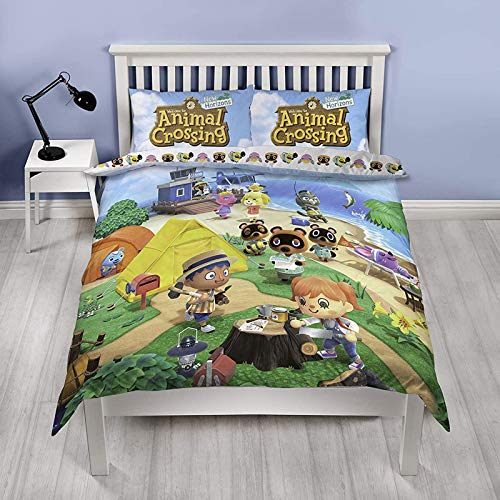 Animal Crossing Offizieller Doppel-Bettbezug | wendbares zweiseitiges Strand-Design | Polycotton Fun Bettwäsche mit passendem Kissenbezug, Mehrfarbig, 200 x 135 cm (Doppelbett)