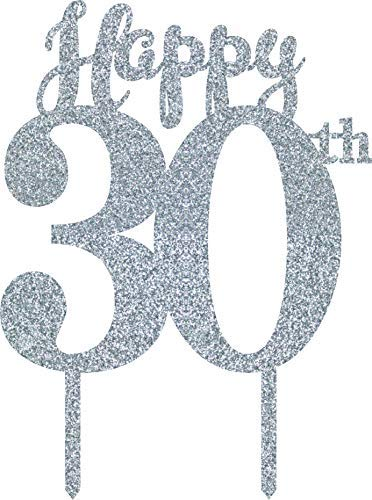 Xylsto 30th Birthday Cake Topper, Silver | PARTY-ACT-019