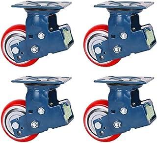 LYQQQQ Zware wielen, 5/6/8-inch dubbele veer dubbele lager schokabsorberende wielen, rood hoge elastische PU-ijzeren kern ...