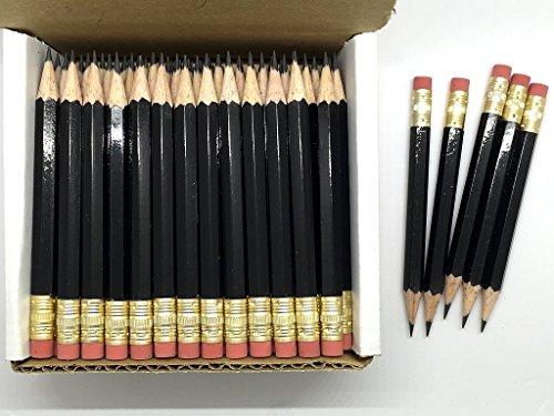 Express Pencils - Half Pencils with Eraser - Golf, Classroom, Pew, Short, Mini - Hexagon, Sharpened, Non Toxic, 2 Pencil, Color - Black, (Box of 48) Golf Pocket Pencils