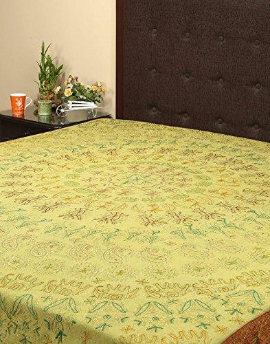 Rajrang geborduurde sprei katoen groen bloemen dubbele kamer bedlaken