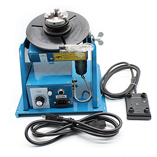 "Rotary Welding Positioner Turntable Table Mini 0-90ºWelding Positioner Positioning Turntable 2.5"" 3 Jaw Lathe Chuck 180mm Portable Welder Positioner Turntable Machine Equipment - 110V,10KG"