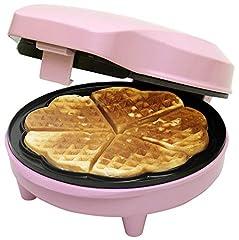Bestron Waffle Iron do klasycznych gofrów serca, retro design, słodkie sny, 700 Watt, Różowy