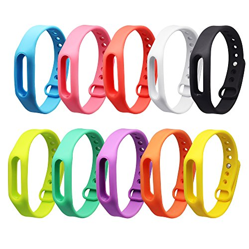 SelfTek 10 Pieces Replacement Band Compitiable with Go-tcha, Xiaomi Mi/1S Bracelet Band Strap Colorful Replacement Wristband Bracelet