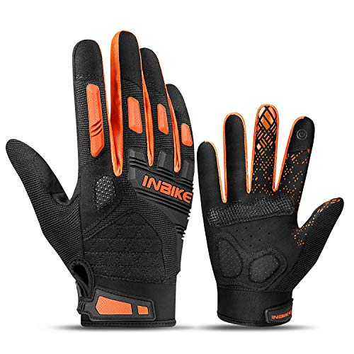INBIKE Cycling Gloves Mountain Bike Mens Road Bike Padded MTB Bicycle Cycle Accessories Tactical Gym Touch Screen for Men Women Full Finger Summer Orange M