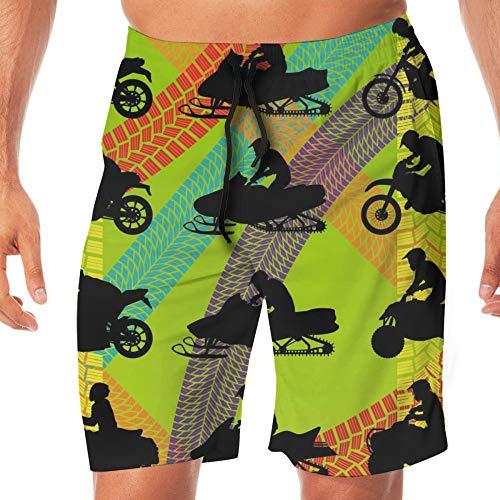 Slips Natación Hombre,Bicicleta De Motocross De Secado Rápido Impresa En 3D Dirt Bike Con Marcas De Neumáticos En Coloridos Pantalones Cortos De Natación Monocromáticos Verdes, Cómodo Y Transpi